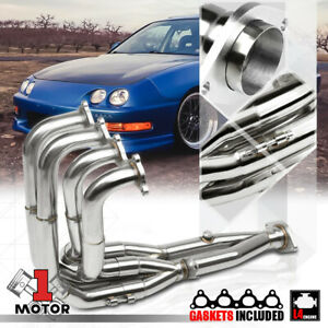 Stainless Steel Stepped Tri Y Exhaust Header Manifold For 94 01 Integra Civic Si