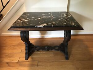 An French Antique Walnut Side Table With Marble Top Circa 1930