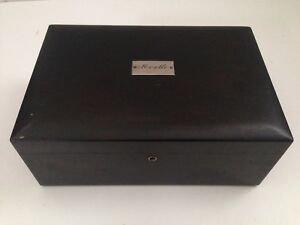 Antique Wooden Document Box With Nameplate On Lid