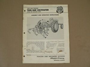 Ford Tractor Implement Rear Mounted Tool Bar Cultivator Owners Manual 1957