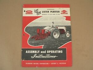 Ford Tractor Lift Type Dearborn Lister Planter 12 26 12 28 Owners Manual 1949