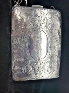 Vintage 100 Year Old Antique Gold Sterling Silver Card Coin Compact Case