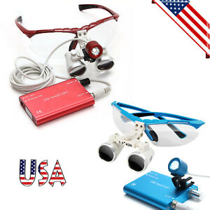 Red blue Dental Loupes 3 5x420mm Surgical Medical Binocular led Head Light Lamp