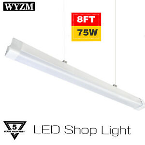 Vapor Proof 8ft 75w 5500k Led Shop Light Ip65 Waterproof 6ft Power Cord Plug