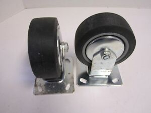 Lot Of 2 Wagner 5 X 2 Wheel Rigid 4 3 4 X 4 Plate Casters New