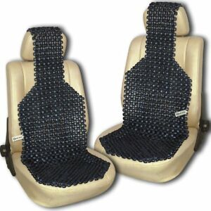 Zento Deals 2x Black Natural Wooden Beaded Seat Massage Cushion Cool Ventilation