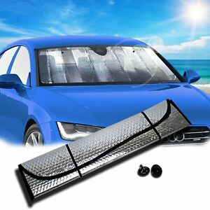 Zento Deals Car Accordion Windshield Sun Shade Standard Sunshade Silver Foldable