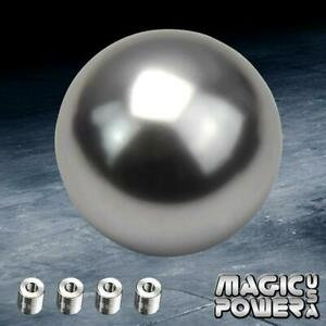 M12x1 25 Round Ball Style Mannual Mt 5 Speed Shift Knob Silver For Honda Acura