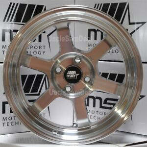 16 16x8 20 Offset 4x100 Mst Mt01 Silver Machine 2 Lip 6 Spokes Tuner Wheels