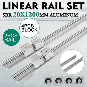 Sbr 20 1200mm 20mm Linear Slide Guide Shaft 2 Rail 4sbr20uu Bearing Block Cnc