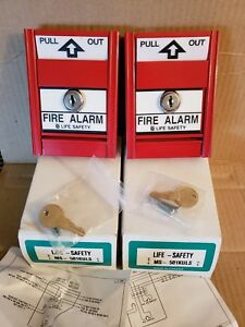 2 New Life Safety Fire Alarm Pull Stations Ms 501kuls with Keys lot Of 2