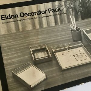 Vintage Eldon Decorator Pack Desk Top Organizer Mail Calendar Memo Pen Holder