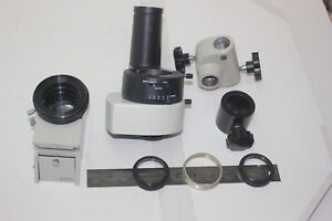 Lot Of 8 Stereo Microscope Parts Photo Tube Adpter Hoder Rod Support And