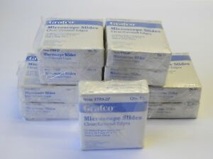 lot Of 11 Grafco 3703 2p Microscope Slides Clear 3 X 1 792 Total Slides