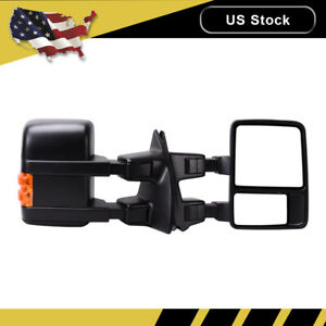 For Ford E250 E350 E450 E550 Van Side Tow View Mirror Manual Dual Arm Left right