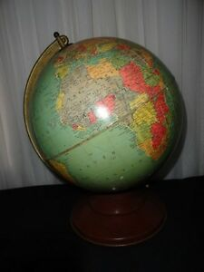 Vintage 1958 Replogle 12 Reference World Globe 1950 S Metal Stand