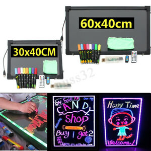 Us Flashing Led Message Writing Sign Board Illuminated Erasable Neon Menu Set