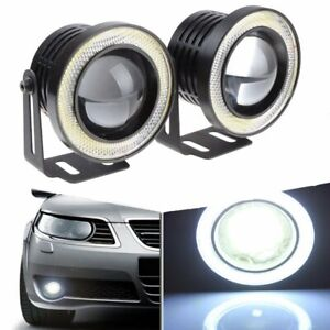 2 5 Inch Led Fog Light Projector Driving Lamp Cob Angel Eye Halo Ring Kit White