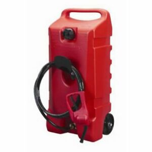 Gas Container Transfer Pump 14 gallon Rolling Portable Fuel Tank Jug 10 Hose