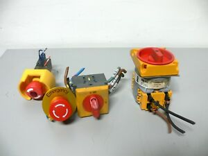 Lot Of 4 Emergency Stop Push Buttons x2 Disconnect Switches x2
