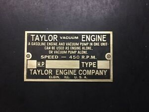 New Taylor Vacuum Pump Gas Engine Brass Data Tag Antique Hit Miss