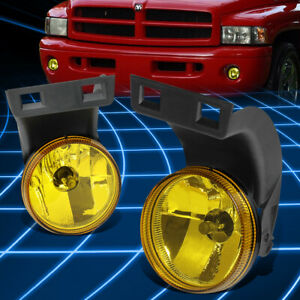 For 94 98 Dodge Ram 1500 2500 3500 Lh Rh Amber Lens Front Bumper Fog Light Lamps