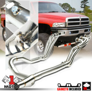 Ss Long Tube Exhaust Header Manifold y pipe For 96 02 Dodge Ram 5 2 5 3 5 9 V8