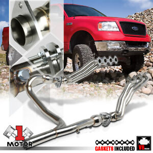 Ss Long Tube Exhaust Header Manifold y pipe For 04 10 Ford F150 5 4 330 V8 4wd