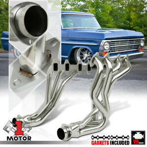 Ss Long Tube Exhaust Header Manifold For 66 76 Ford F100 f150 f250 5 9 6 4 V8