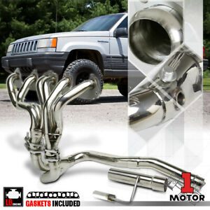 Stainless Steel Exhaust Header Manifold Y Pipe For 91 99 Jeep Cherokee Yj Tj 242