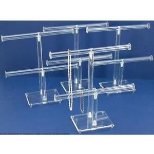 4pc 2 Tier Clear Acrylic T bar Chain Bracelet Display