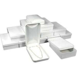 12 Bead Necklace Boxes White Faux Leather Display Box