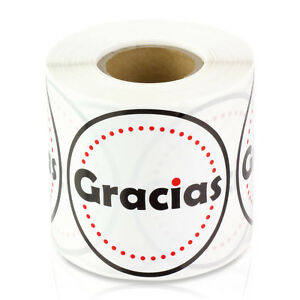 Gracias Stickers Spanish Thank You Self Adhesive Bye Labels 2 Round 10 Rolls