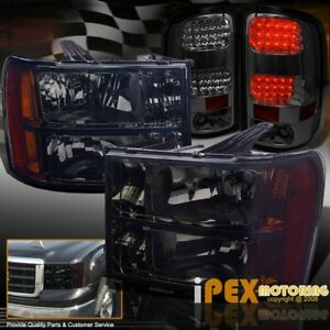 2007 2013 Gmc Sierra 1500 2500hd Black Out Headlights Led Smoke Tail Lights