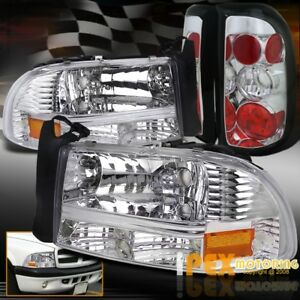 chrome Combo 1997 2004 Dodge Dakota Chrome Headlights W Signals Tail Lights
