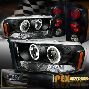 2002 2005 Dodge Ram Halo Projector Led Black Headlights Dark Smoke Tail Light