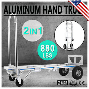 2in1 Aluminum Hand Truck Convertible Folding Dolly Platform Cart 880lbs Capacity