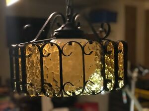 Vintage Wrought Iron Spanish Revival Chandelier Ceiling Lamp Amber Glass Awesome