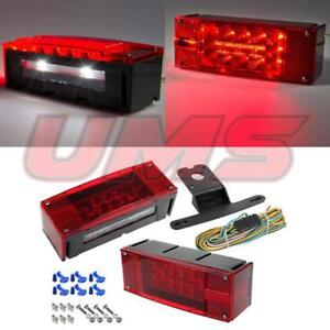 Left right Led Waterproof Trailer Boat Rectangle Stud Stop Turn Tail Lights Kit