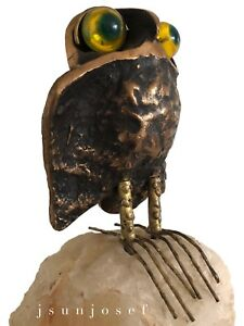 Uncommon Mid Century Bronze Travertine Acrylic Owl Sculpture By Curtis Jere