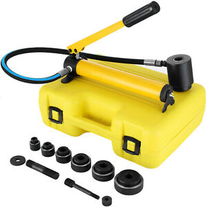 10 Ton 6 Dies Hydraulic Knockout Punch Driver Kit 1 2 2 Hole Hand Pump Conduit