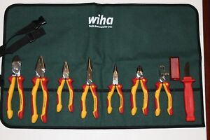 Wiha 8 Pc Insulated Pliers cutters knife Set 32889