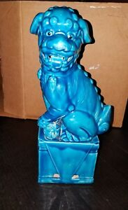 Vintage Turquoise Blue Foo Dog Figurine Statue Foo Dog 12 3 4 Inch Made In Japan