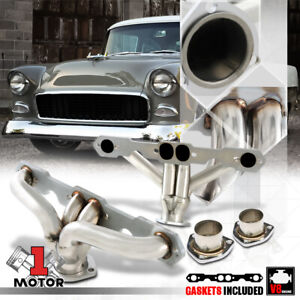 Stainless Steel Exhaust Header Manifold For 55 57 Small Block Chevy Tri 5 Hugger