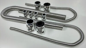 48 Chrome Stainless Flexible Radiator Heater Hose Kit W Polished End Caps