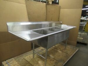 Select Stainless 102 X 28 8 6 3 Bay Compartment Sink 18 x24 x14 Deep Bowls
