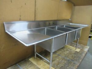 Select Stainless 9 4 112 X 32 3 Bay Compartment Sink 28 x 20 x 14 Deep Bowl