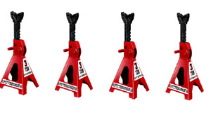 Set Of Four 4 3 Ton Steel Jack Stands Heavy Duty Auto truck Repair Shop Garage