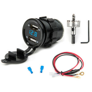 12v Dual Usb Car Charger Adapter Socket Led Digital Voltmeter Meter Drilling