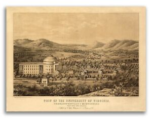 1856 University Of Virginia Vintage Old Panoramic City Map 18x24